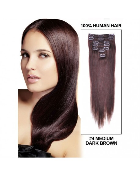 HEARTLEY Dark Brown Brazilian Human Hair Nature Strraight 9pcs Clip In Hair Extensions