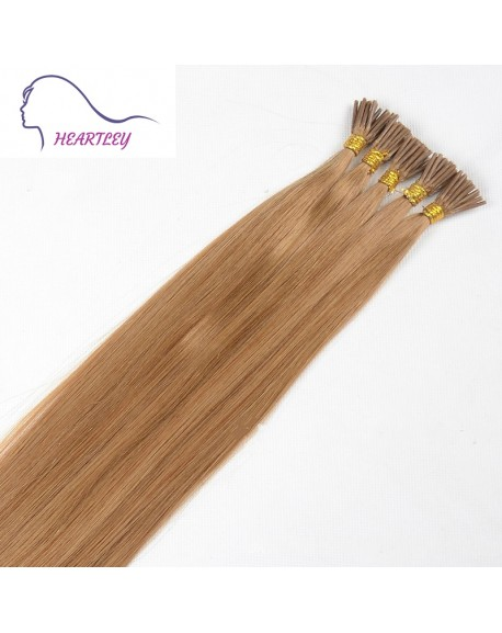 "HEARTLEY 18"" 100 Strands Strawberry Blonde Smooth Straight Pre Bonded I Tip Human Hair Extensions"