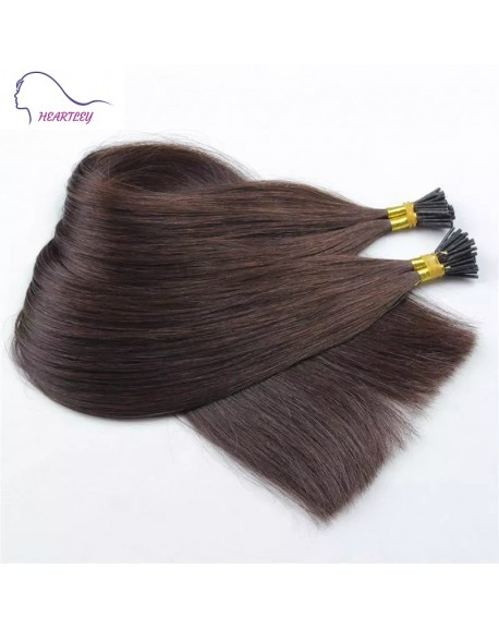 "HEARTLEY 18"" Dark Brown Silky Straight Human Remy Hair 100 Strands I Tip Hair Extensions"