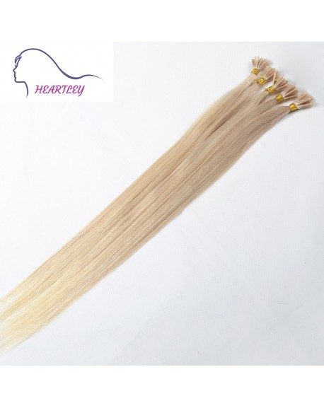 HEARTLEY Bleach Blonde 18 inch Human Hair Silky Straight 100 Strands I Tip Hair Extenisons