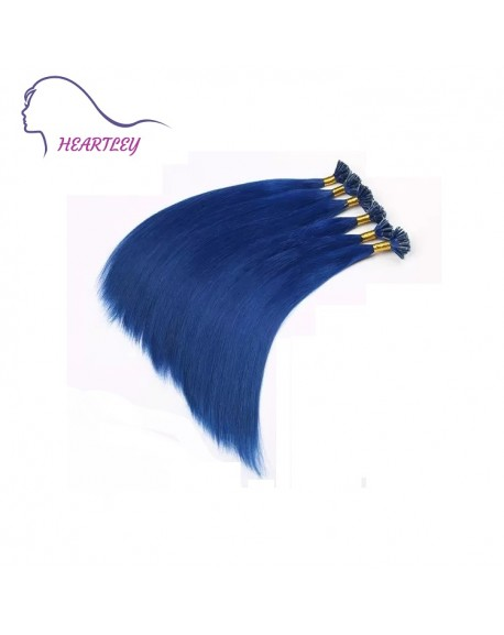 "HEARTLEY 18"" Remy Human Hair U Tip With Blue Hot Fusion 100 Strands Straight Extensions"