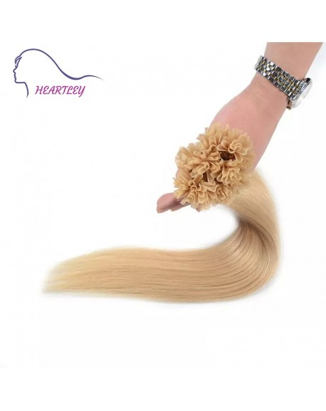 HEARTLEY Bleach Blonde Color 18 inch Hair Silky Straight Fusion 100 Strands U Tip Hair Extenisons