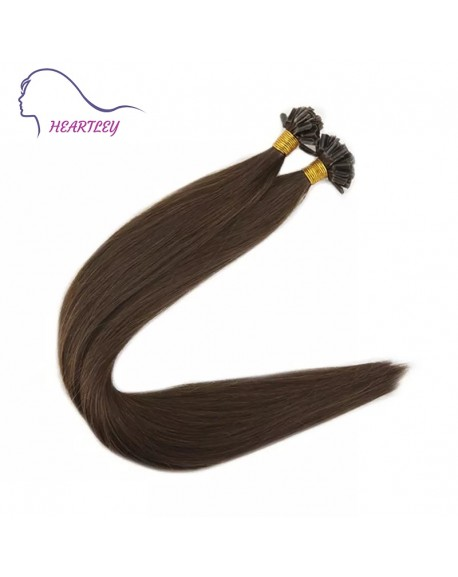 "HEARTLEY 18"" Chocolate Brown U Tip Real Human Hair Extensions 100 Strands Straight Nail Tip"