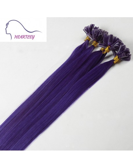 "HEARTLEY 18"" Purple U Tip Fusion Remy Human Hair Extensions 100 Strands Colored Straight Nail Shape"