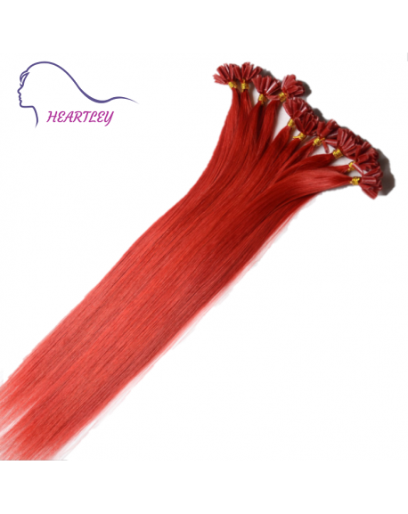 "HEARTLEY 18"" Red Straight Hair Remy Hair Nail Shape 100 Strands U Tip Extensions"