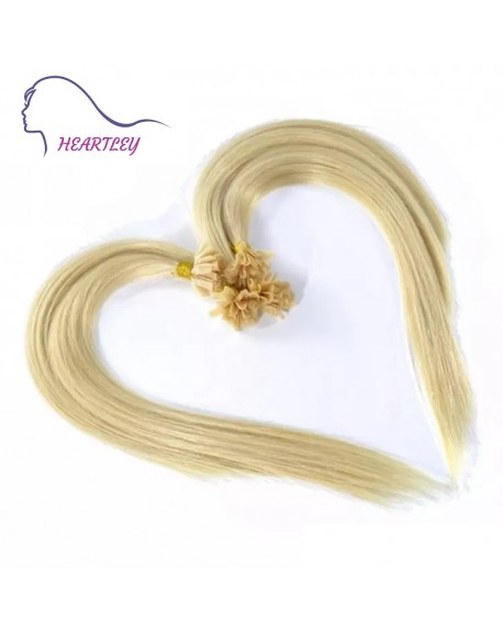 "HEARTLEY 18"" Blonde Virgin Human Hair Straight Fusion 100 Strands U Tip Hair Extensions"
