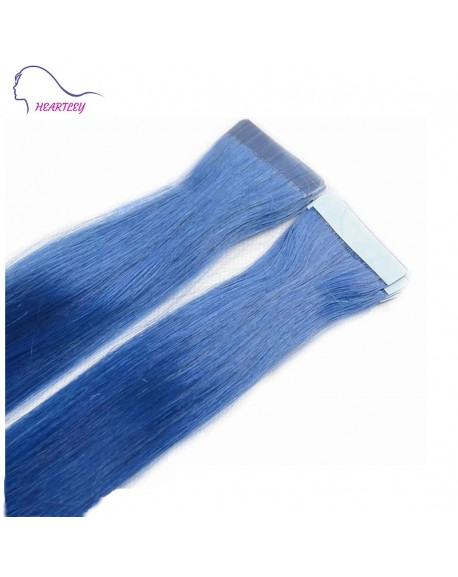 HEARTLEY 18 Inch Natural Looking 100% High Grade Tape In Hair Extensions Blue Straight Remy Human Tape Hair