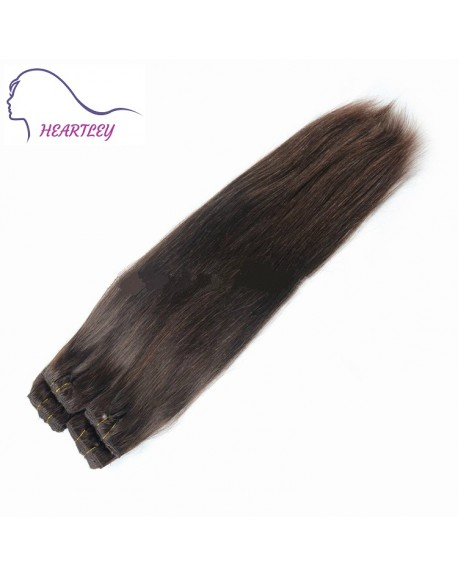 22 Inch Dark Brown Hair Silk Straight Brazilian Remy Clip In Hair Extensions