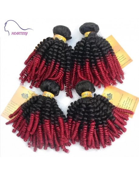24 Inch Kinky Curly Weave Black Burgundy Ombre Brazilian Human Hair Extensions