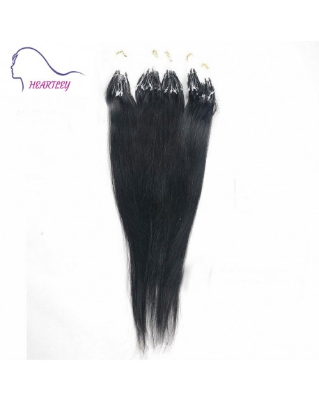 "18"" Natural Black Micro Loop Brazilian Remy Hair Extensions"