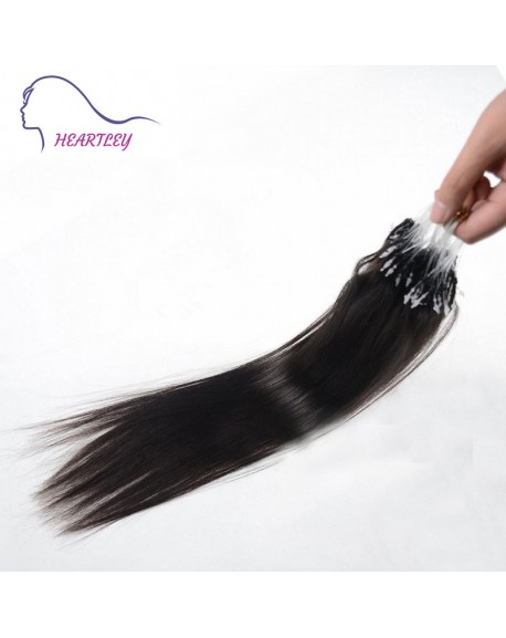 18 Inch Black Brazilian Human Hair Straight Loop Hair Extensions