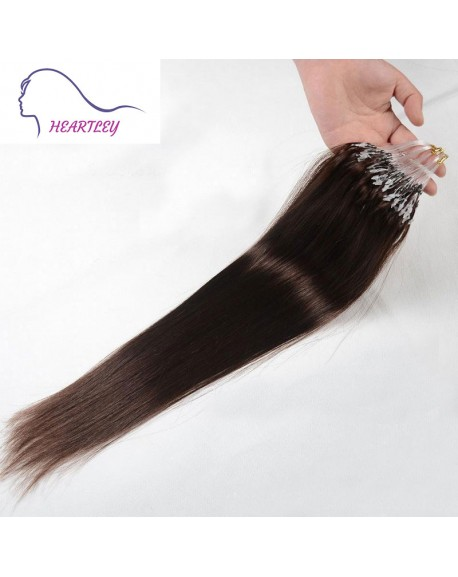 18 Inch Dark Brown Micro Loop Hair Extensions Brazilian Remy Human Hair Straight Texture