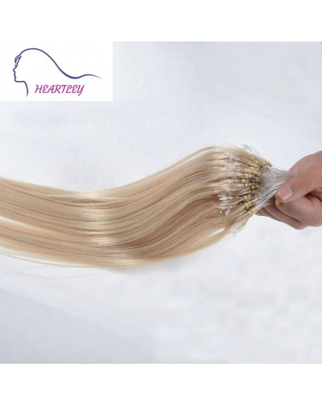 18 Inch Bleached Blonde Hair Extensions Brazilian Real Human Hair Straight Loop Hair