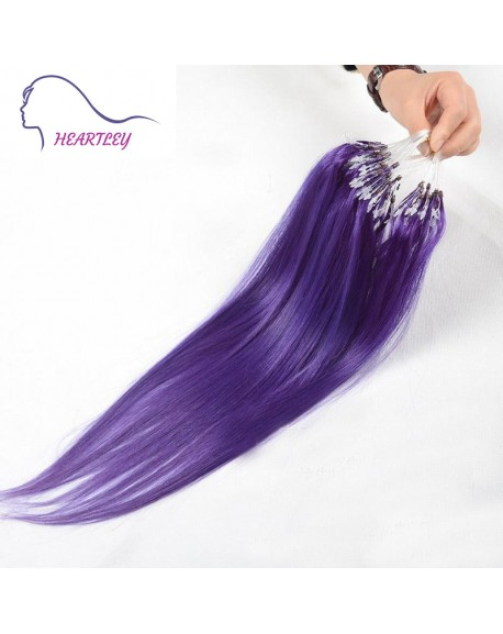 18 Inch Brazilian Purple Hair Extensions Micro Ring Human Hair 100 Strands/Pack