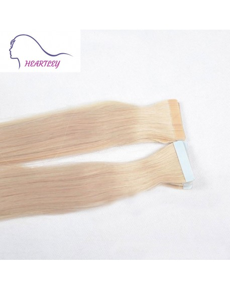 "18"" Bleached Blonde Brazilian Hair Extensions Remy Straight Tape In Human Hair"