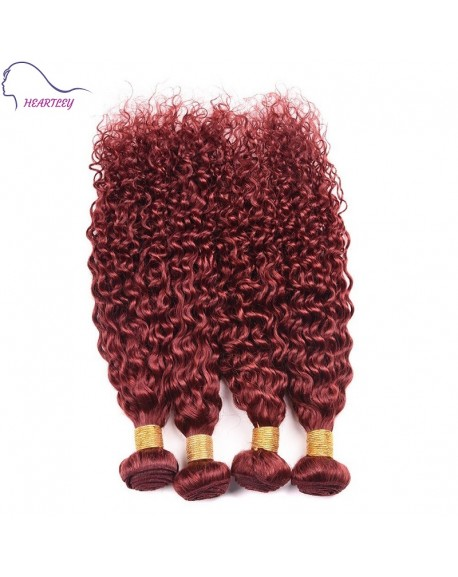 24 Inch Red Brown Kinky Curly Brazilian Extensions Hair Weaves 4 Bundles