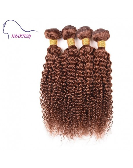 20 Inch Brown Brazilian Hair Weaves Kinky Curly Real Human Hair Extensions 4 Bundles