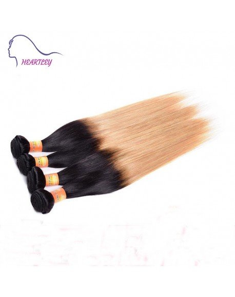 24 Inch Straight Black Honey Blonde Ombre Hair Weaving Extensions Brazilian Human Hair 4 Bundles
