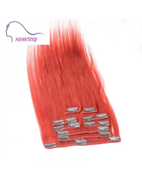 18 Quot Red Clip On Hair Extensions Heartley Colored Hair