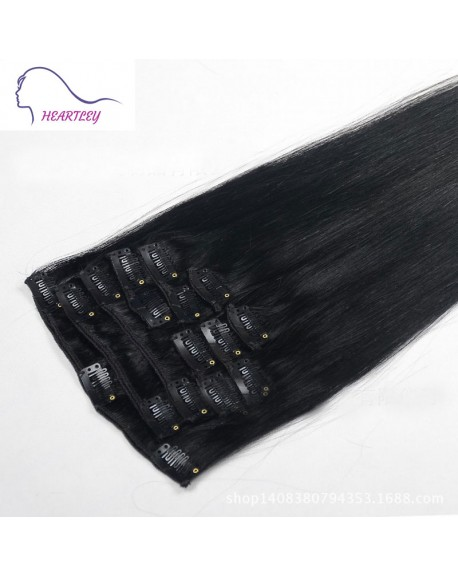 22 Inch Peruvian Remy Straight Clip In Hair Extensions Natural Black Human Hair 9 Pieces
