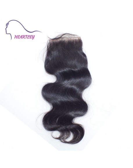 "Free Part Body Wave 4""*4"" Brazilian Virgin Hair Lace Closure with Baby Hair"