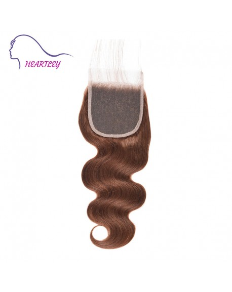 Brazilian 4x4 Body Wave Swiss Lace Closure with Baby Hair 10-20 Inch Human Hair Chocolate Brown