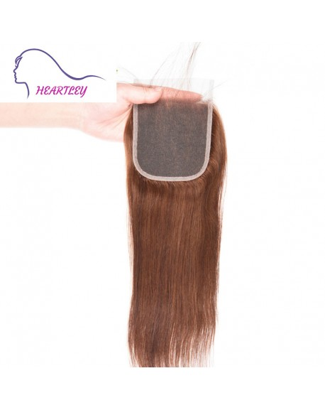 Brazilian Straight Swiss Lace Closure 4x4 Chocolate Brown Human Hair Pieces 10-20 Inch