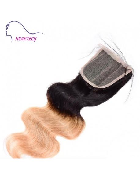 T1b/27 Ombre Brazilian Hair Body Wave Free Part 4x4 Lace Closure Weave Hair Pieces