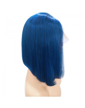 Brazilian Human Hair 13x4 Lace Frontal Blue Bob Wigs 150 Density