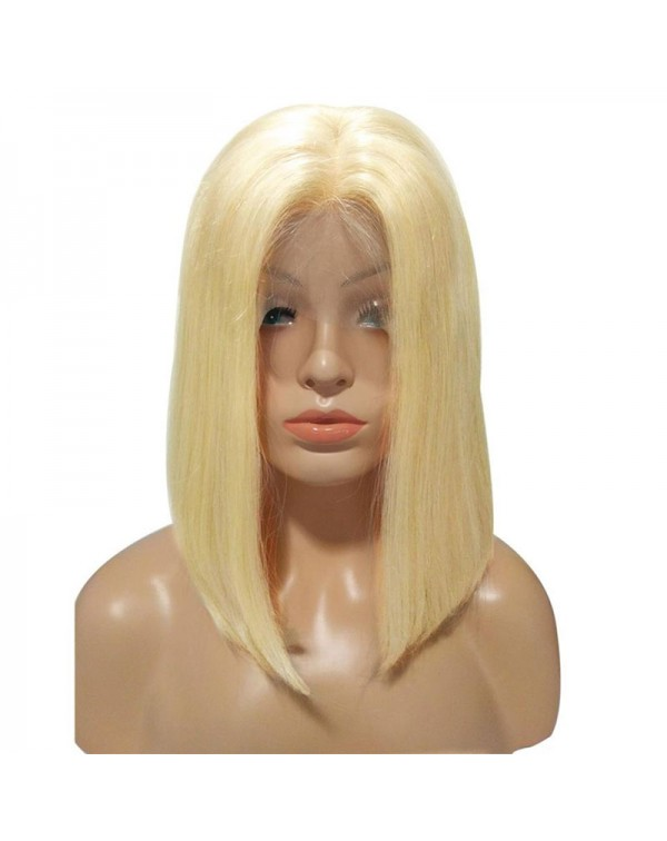 613 Blonde Brazilian Remy Human Hair Lace Front Bob Wigs 150 Density