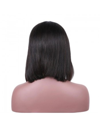 150 Density Natural Black Brazilian Human Hair Lace Frontal Bob Wigs