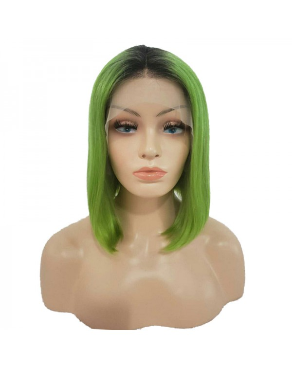 Light Green Ombre Human Hair 150 Density Lace Front Bob Wigs
