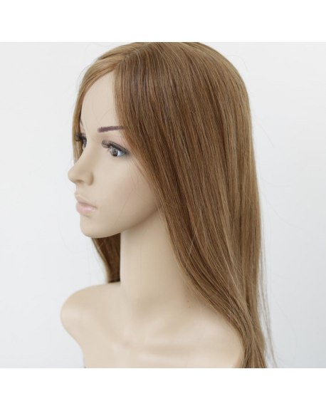 Human Hair Wigs Medium to light brown human hair clip in half topper