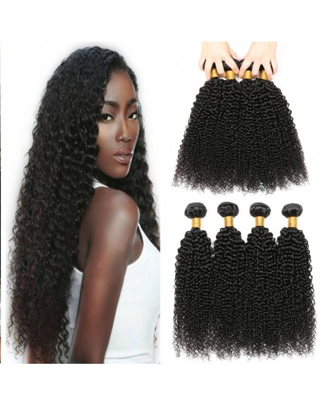 Remy India Human Hair Extensions Kinky Curly Nature Black 1b 16 inch