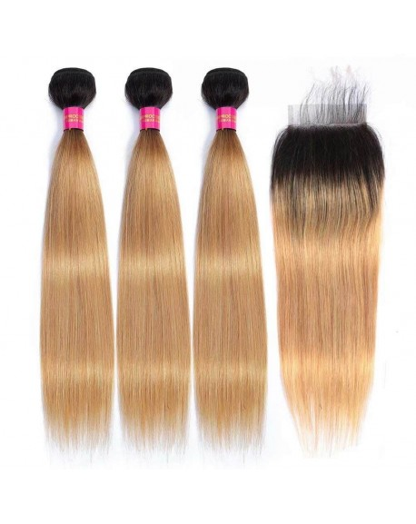 1b/27 Ombre Blonde Brazilian Straight Hair Weaves 3 Bundles with Lace Closure