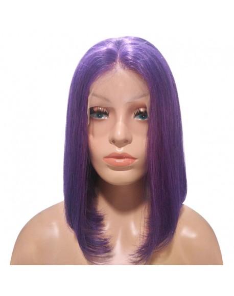Purple Bob Lace Front Human Brazilian Hair Short Wig 180 Density
