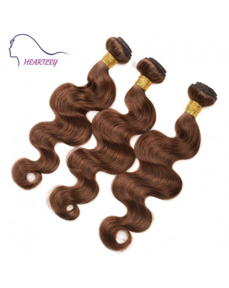 HEARTLEY Medium Brown Pre-Colored Body Wave 3 Bundles 100% Brazilian Virgin Hair Extensions