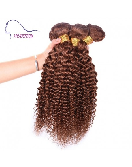 HEARTLEY Popular Brown Virgin Brazilian Hair Weaves 3 Bundles Curly Real Human Hair Extensions