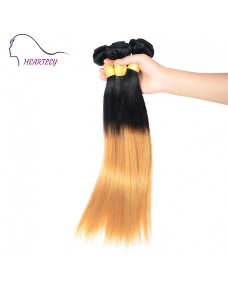 HEARTLEY Indian Remy Hair Ombre 1B/27 Straight Black to Honey Blonde 3pcs Hair Weaving Extensions