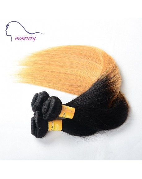 HEARTLEY Peruvian Virgin Hair Ombre Straight Black to Honey Blonde 3pcs Hair Weaving Extensions