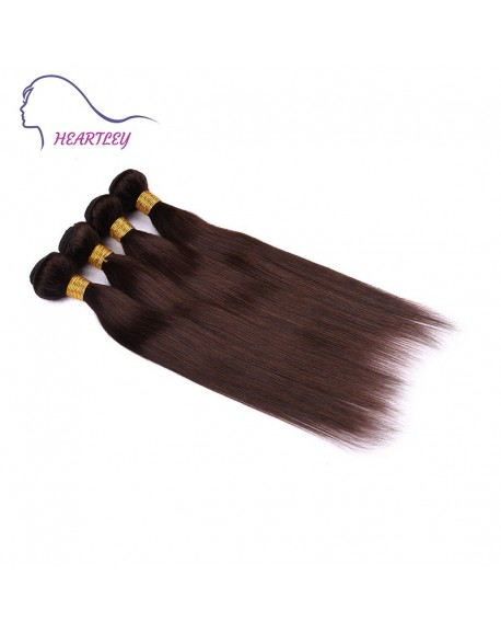 HEARTLEY Dark Brown Virgin Brazilian Human Hair Weave 3 Bundles Straight Hair Extensions