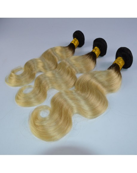 HEARTLEY Ombre Black To Light Blonde Body Wave Brazilian Hair 3 Bundles Extensions
