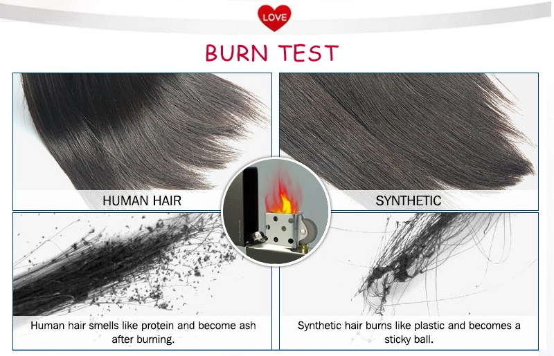 Burn test between human hair or synthetic hair