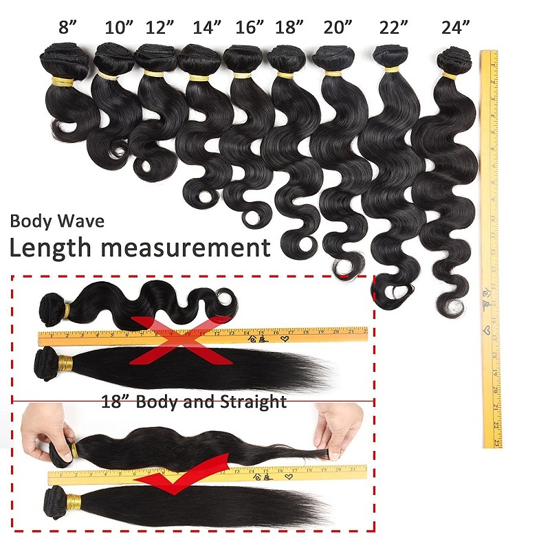 Body wave hair extension length measurement